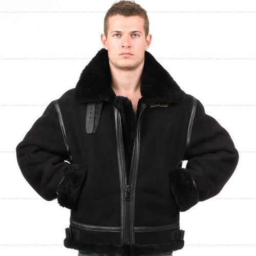 B3 shearling Bomber Fur Luxury Shearling Leather jacket High Quality leather Jacket For Men