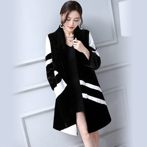 Faux Fur Coat Women White And Black Contrast Color Luxury Knee Length Imitation Rabbit fur Overcoat Plus Size 5XL 6XL available - moonaro