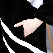 Load image into Gallery viewer, Faux Fur Coat Women White And Black Contrast Color Luxury Knee Length Imitation Rabbit fur Overcoat Plus Size 5XL 6XL available - moonaro