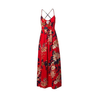 Red Floral Print Sexy Lace Up V Neck Women Maxi Dresses Summer Split Backless Beach Long Vestidos Boho Dress