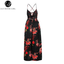 Load image into Gallery viewer, Red Floral Print Sexy Lace Up V Neck Women Maxi Dresses Summer Split Backless Beach Long Vestidos Boho Dress