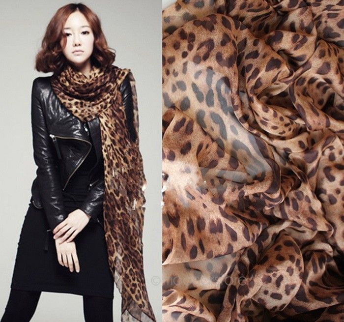 Brand New Fashion Women Long Chiffon Scarves Leopard Print Shawl All-match Lady Soft Scarf 160x60CM - moonaro