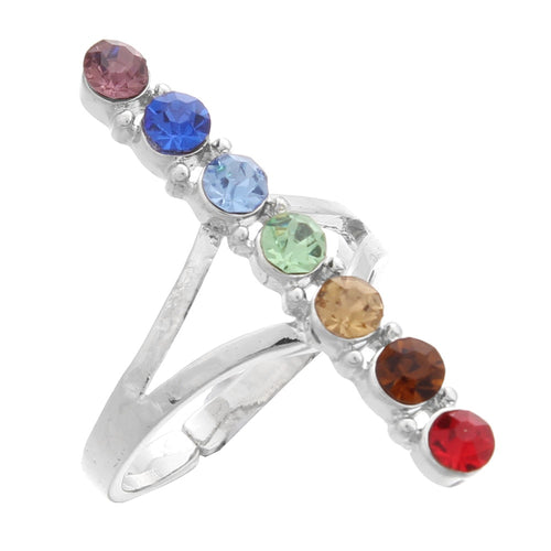 7 Chakra Crystal Bead Finger Rings Reiki Balance Meditation Healing Point Charm Adjustable Yoga Hollow Flower Women Ring - moonaro