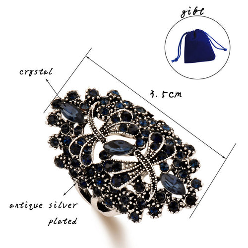Big Hollow Blue Rhinestone Dragonfly Rings Women Antique Silver/ Gold Color Wedding Party Jewelry - moonaro