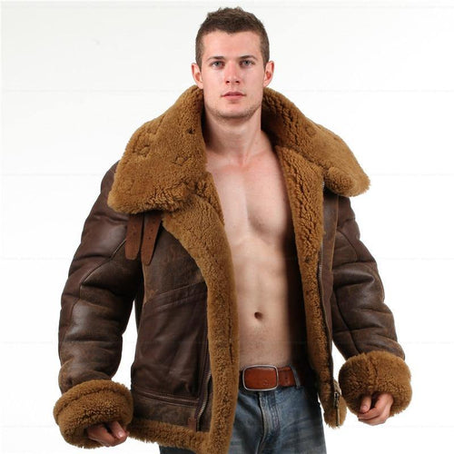 Men Royal Luxury Top High Quality shearling Bomber Fur military Leather Jacket For Men