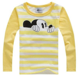100% Cotton T Shirt Long Sleeve Spring Mouse Cartoon T shirts for Boys Girls Casual Tees Spring Autumn Children Kids Clothes - moonaro