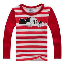 Load image into Gallery viewer, 100% Cotton T Shirt Long Sleeve Spring Mouse Cartoon T shirts for Boys Girls Casual Tees Spring Autumn Children Kids Clothes - moonaro