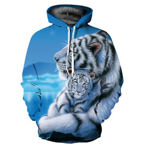 New Fashion Hooded Sweatshirts Men/women 3d Hoodies Print Double Tigers Thin Hooded Hoodies Casual Hoody Tops