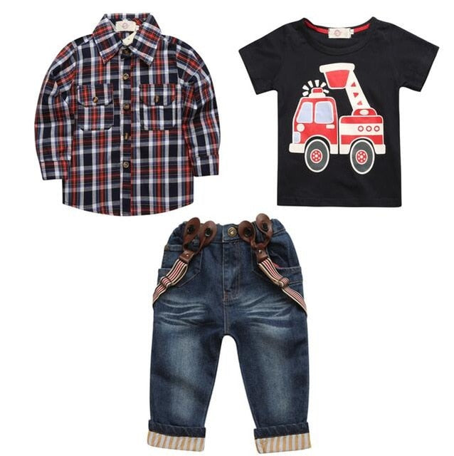 sets of clothes for spring suit boy's long sleeve plaid shirt + jeans + Vehicle Printing 3 pcs set