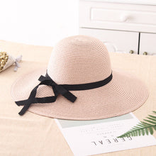 Load image into Gallery viewer, summer straw hat women big wide brim beach hat sun hat foldable sun block UV protection