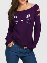 Load image into Gallery viewer, Women T Shirts Casual Autumn Cat Clothes Womens Tops Cat Face Print Long Sleeve Ripped T-Shirt Women's Clothing Tshirt