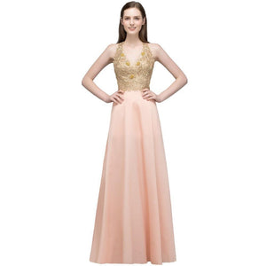 Sexy Deep V-Neck Beaded Evening Dresses 2018 Open Back Gold Lace Formal Dresses Long Party Dress