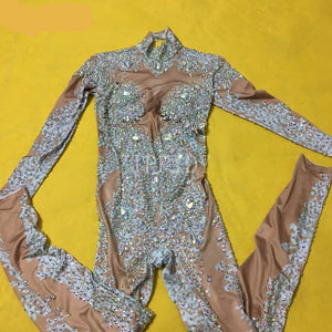 Rhinestones Sparkly Jumpsuit Fashion Sexy Nude Big Stretch Dance Costume One-piece Bodysuit Birthday Outfit Party Leggings