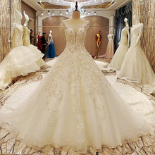 Load image into Gallery viewer, Elegant bridal gowns cape sleeves ball gown flower wedding gowns with long tail robe de mariage - moonaro