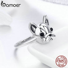 Load image into Gallery viewer, Hot Sale 100% 925 Sterling Silver Loyal Partners French Bulldog Dog Animal Female Ring for Women Fashion Jewelry SCR261