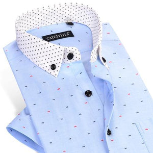 Men's Thin Short Sleeve Fish Bone Pattern Dress Shirts Contrast Collar Comfortable Soft Smart Casual Slim-Fit Button-Down Shirt