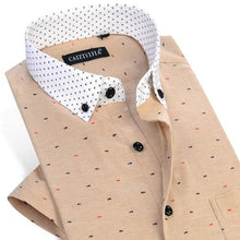 Load image into Gallery viewer, Men's Thin Short Sleeve Fish Bone Pattern Dress Shirts Contrast Collar Comfortable Soft Smart Casual Slim-Fit Button-Down Shirt