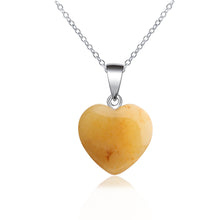 Load image into Gallery viewer, Heart Stone Pendant Necklace Rock Natural Quartz Crystal Healing Chakra Stone Pendant Necklace for Women Jewelry