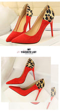 Load image into Gallery viewer, New Woman Shoes With Shallow Mouth Pointed Sexy Thin Suede Color Matching Leopard Women Pumps Women Shoes High Heel