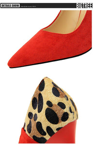 New Woman Shoes With Shallow Mouth Pointed Sexy Thin Suede Color Matching Leopard Women Pumps Women Shoes High Heel