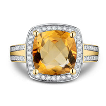 Load image into Gallery viewer, Fine Jewelry Rings Vintage Cushion 10mm Citrine And Diamond Ring 14k Yellow Gold Natural Gemstone Ring - moonaro