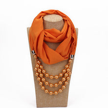 Load image into Gallery viewer, RUNMEIFA New Pendant Scarf Necklace Pearls Necklaces For Women Chiffon Scarves Pendant Jewelry Wrap Foulard Female Accessories