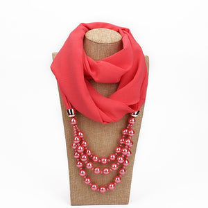 RUNMEIFA New Pendant Scarf Necklace Pearls Necklaces For Women Chiffon Scarves Pendant Jewelry Wrap Foulard Female Accessories