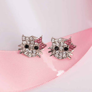 Lovely Silver Plated Small Cute Hello Kitty Earrings For Girls Charm Crystal Turkish Jewelry Brincos Children Earings