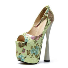 Load image into Gallery viewer, Flower Thick Heel Peep Toe Pumps Women Sexy Super High Heels Female Ankle Strap Party Wedding Shoes