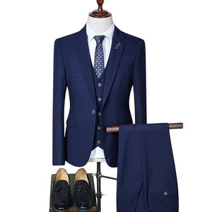 Men Suits For Wedding Slim Fit Men's Suits Formal Navy Blue Burgundy Tuxedo Jacket Brand 3 Piece Plaid Suit
