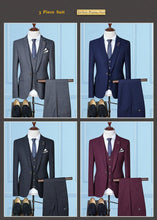 Load image into Gallery viewer, Men Suits For Wedding Slim Fit Men's Suits Formal Navy Blue Burgundy Tuxedo Jacket Brand 3 Piece Plaid Suit