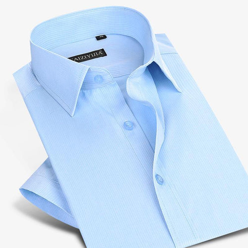 Men's Thin Twill Stripe Pattern Short Sleeve Dress Shirt Wrinkle Free Formal Business Slim Fit Light Blue Work Office Top Shirts