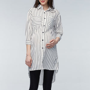 Clothings Pregnant Women Blouses  Pregnancy Lapel 3/4 Sleeve Casual Loose Striped Shirts Plus Size Oversized - moonaro