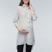 Load image into Gallery viewer, Clothings Pregnant Women Blouses  Pregnancy Lapel 3/4 Sleeve Casual Loose Striped Shirts Plus Size Oversized - moonaro