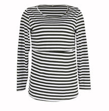 Load image into Gallery viewer, Long Sleeve Breastfeeding Shirt nursing top Striped breastfeeding clothes