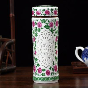 Double-deck ceramic insulated Thermos Celadon Business Cup Carved out Pattern Thermal vaccum water bottle