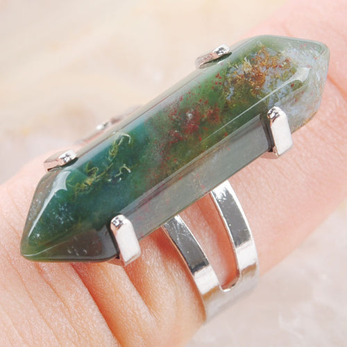Natural Gem Stones Healing Reiki Chakra Beads Ring Adjustable