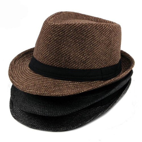 Men's Hats Casual Solid Plain Fedora Hats Retro Derby Jazz Hats British Trilby Hats