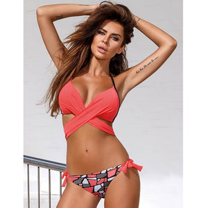 Sexy Bikini Women Swimsuit Push Up Swimwear Criss Cross Bandage Halter Bikini Set Beach Bathing Suit Swim Wear