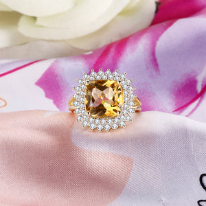 925 Sterling Silver Rings for Women Solitaire Cushion Yellow Natural Citrine CZ Wedding Engagement Fine Jewelry Valentines gift - moonaro