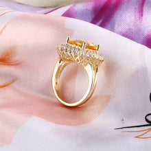 Load image into Gallery viewer, 925 Sterling Silver Rings for Women Solitaire Cushion Yellow Natural Citrine CZ Wedding Engagement Fine Jewelry Valentines gift - moonaro