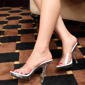 Sexy Transparent Crystal High Heel Sandals Women 12cm Thin Heel Party Wedding Slippers