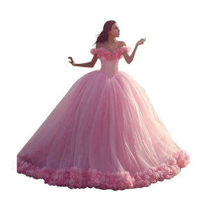 Ball Gown Luxury Handmade Floras  Off Shoulder Mesh Dresses Pink Fairy Bandage Empire Long Party Dress - moonaro