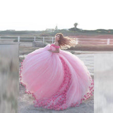 Load image into Gallery viewer, Ball Gown Luxury Handmade Floras  Off Shoulder Mesh Dresses Pink Fairy Bandage Empire Long Party Dress - moonaro