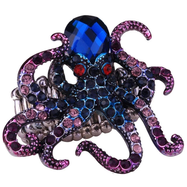 Octopus Stretch Ring Scarf Clasp Buckle Antique Gold Silver Color Animal Crystal Jewelry Gifts