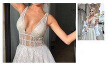 Load image into Gallery viewer, Luxury Deep V Neck Bling Bling Sequins Beaded Empire Long Party Dress
