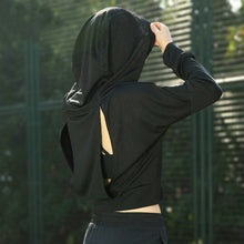 Load image into Gallery viewer, Long Sleeves Sexy back Design Sport Hoodie Gym shirt Fitness Tops tees Sportswear Running Woman Athletic t-shirts