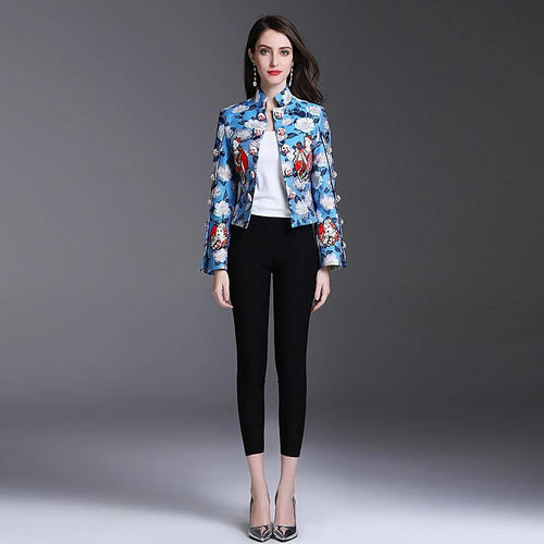 High Quality Spring Women'S Party Boho Beach Leisure Office Vintage Graffiti Print Long Sleeve Coat Jacket
