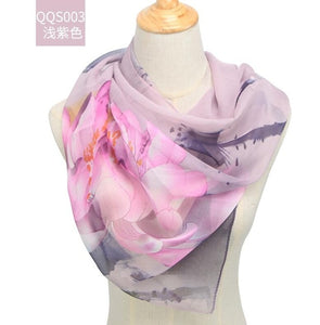 spring and autumn chiffon women scarf polyester geometric pattern design long soft silk shawl
