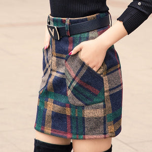S-3XL New Women's Woolen Blends Skirt Winter Spring Autumn Fashion Elegant Plaid Thick Slim Short Skirt Girl Female Cotton